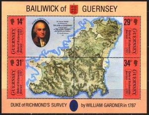 Guernsey. 1987. bl4. Guernsey map. MNH.
