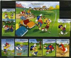 ANTIGUA & BARBUDA 1991 DISNEY CHARACTERS PLAYING GOLF SET OF 8 STAMPS & S/S MNH