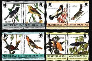 D1-Montserrat-Scott#580-3-Unused NH set-Birds-Audubon-1985-