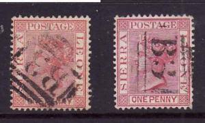 Sierra Leone-Sc#23,23a-used 1p carmine,1p rose carmine-QV-1884l-