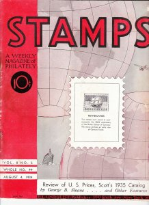 Stamps Weekly Magazine of Philately August 4, 1934 Stamp Collecting Magazine