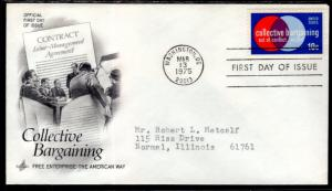 US 1558 Collective Bargaining Artcraft Typed FDC