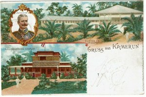 Cameroun 1898 Viktoria cancel on Gruss Aus postcard to Germany