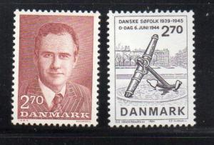 Denmark  Scott  757-8 1984 Prince Henrik & D-Day stamp set mint NH