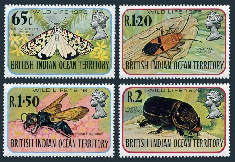 BIOT 86-89,MNH.Mi 86-89. Insects 1976.Crimson Speckled Moth,Dysdercus,Sohex,