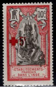 FRENCH INDIA  Scott B5 MH* Red Cross semi-postal 1916