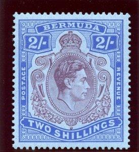 Bermuda 1938 KGVI 2s deep purple & ultramarine/grey-blue MLH. SG 116.