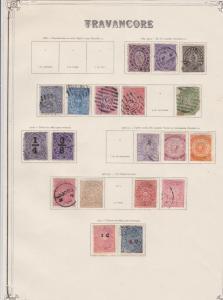 india states travancore stamps on 1 album page ref 13424