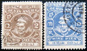 COCHIN 1943 2p,9p Kerala Varma II Used