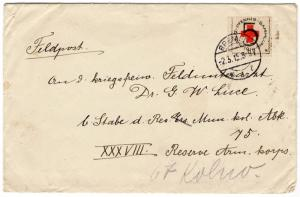 (I.B-CK) Germany Cinderella : Great War Cover (Feldpost) Red Cross 5pf
