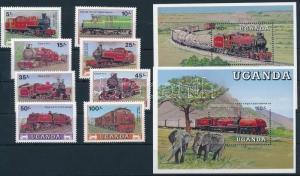 Uganda stamp Locomotives set + block set MNH 1988 Mi 569-576 + Mi 77-78 WS242031