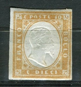 ITALY; SARDINIA 1855 classic Imperf issue Mint hinged Shade of 10c. value