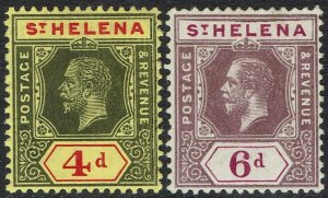ST HELENA 1912 KGV 4D AND 6D