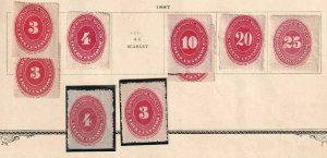 MEXICO 1867 NUMERALS COLLECTION LOT x9 STAMPS $$$$$$$