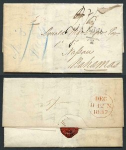 Bahamas Dec 1837 Entire from London to Nassau rated 2/3 in m/s with Add 1/2d pmk