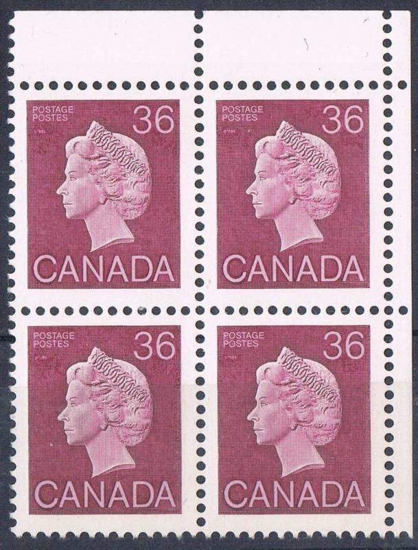 Canada #926A 36c Plum Queen on DF Rolland Paper - UR Corner Block - VF-80 NH