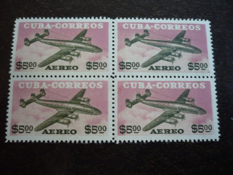 Stamps - Cuba -Scott# C120-C121 - Mint Hinged Set of 2 Air Mail Stamps in Blocks