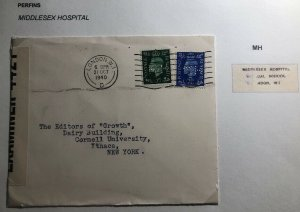 1940 London England Commercial Censored Cover To Ithaca NY Usa Perfin Stamp