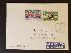 1968 Tahiti French Polynesia to Hamburg West Germany Advertising Air Mail Cover