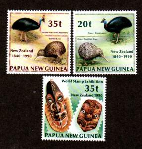 Papua New Guinea MNH 739-41 New Zealand Birds 1990