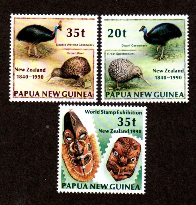 Papua New Guinea MNH 739-41 World Stamp Expo New Zealand 1990 SCV 5.10