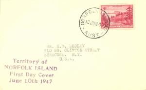 Norfolk Islands 4d View of Ball Bay 1947 Norfolk Island, Aust to Syracuse, N....