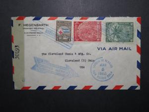 Honduras 1945 Censor Cover to Ohio (I) - Z12003