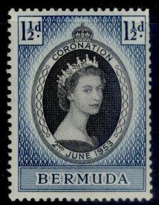 BERMUDA QEII SG134, 1½d black & blue 1953 CORONATION, NH MINT.
