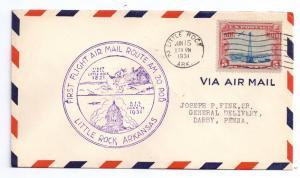 AM 20 First Flight Cover FFC Little Rock AR 1931 Air Mail