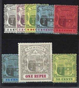 Mauritius 1904-1907 SC 128-136 MLH Set