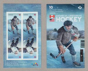 HOCKEY HISTORY=Canada-U.S. 2017 Joint Issue = 2 Tête-Bêche Pairs on BK Back page