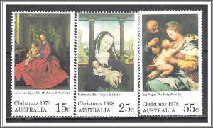Australia #688-690 Christmas Paintings MNH
