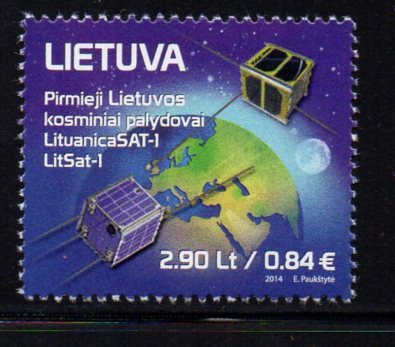 Lithuania Sc 1033 2014 Space Satelites stamp mint NH