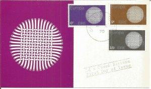Maximum Card EIRE 1970 Europa Sun Interlaced Fibres First Day Of issue U3798