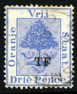 ORANGE FREE STATE 1888 Telegraph Stamp TF Overprint on 3d Ultramarine SG T16 VFU