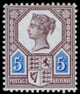 SG207a SPEC K36(2), 5d dull purple & bright blue, DIE II, NH MINT. Cat £60.