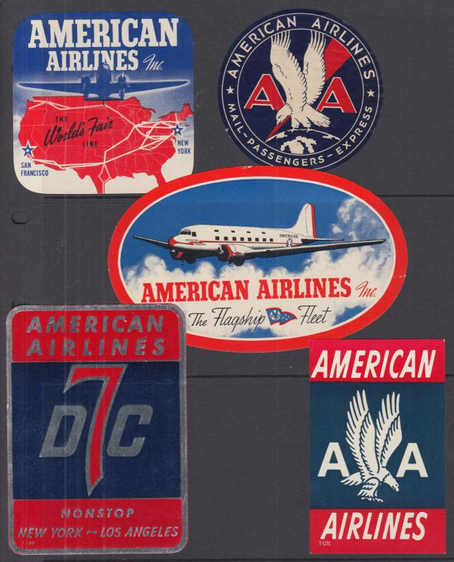 American Airlines Labels, 5 different, gummed, fresh, VF