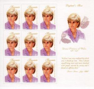 Tanzania 1998 PRINCESS DIANA Sheet Perforated Mint (NH)