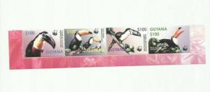 GUYANA 2003 WWF BIRDS SCOTT 3792 STRIP  MNH