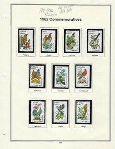 1982 20cent STATE BIRDS & FLOWERS SET 50 MNH SINGLES - SCV $58.50 - W39