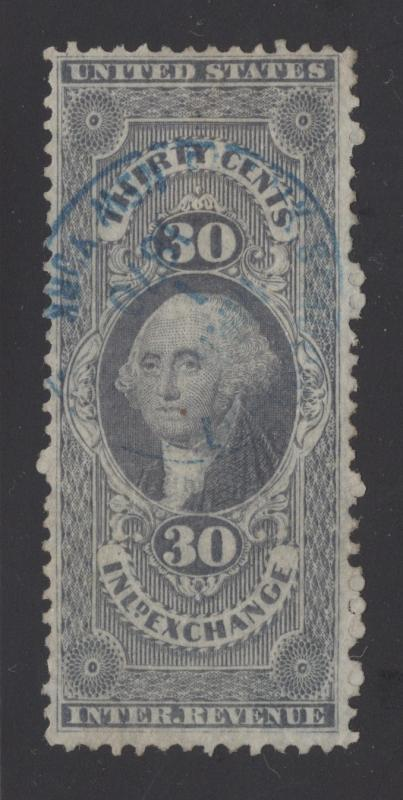 R52c - 30 Cents - Lilac(Faded) - Inland Exchange - Blue 1870 Hand Stamp Cancel