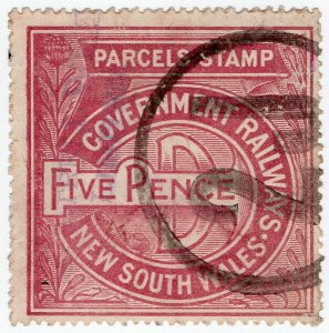 (I.B) Australia - NSW Railways : Parcel Stamp 5d (1914)
