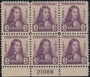 U.S. 724 VF MH PBlk/6 21069 Bot.(42320)