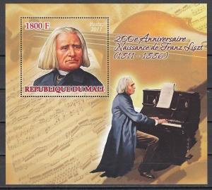 Mali, 2011 issue. Composer Franz Liszt s/sheet.