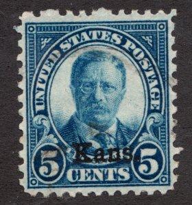 Sc# 663 - United States - 5 Cents 1929 Kans. Roosevelt - Used VF - superfleas