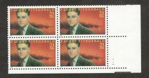 3104 F. Scott Fitzgerald Plate Block Mint/nh FREE SHIPPING