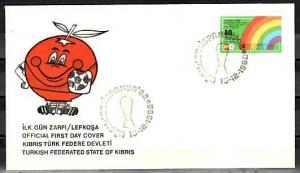 Turkish Rep. of Cyprus, Scott cat. 123. World Cup Soccer. First day cover