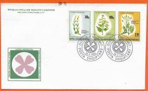 [B-1] Albania 1988 FDC; Albanian Flora MiNr.2358-2360