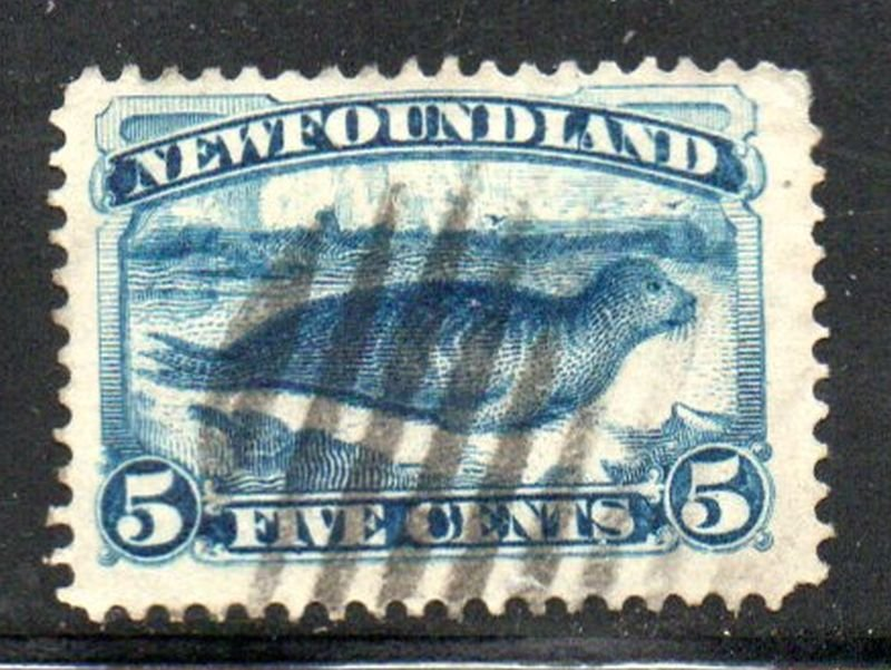 Newfoundland Sc  55 1894 5c bright blue seal stamp used
