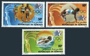 Djibouti C200-C202,MNH.Michel 409-411.Olympics Los Angeles-1984.Running,Swimming